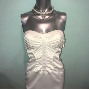 Strapless pleated corset satin cocktail dress